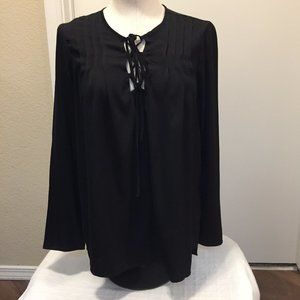 Studio M flowy long sleeve top with lace-up